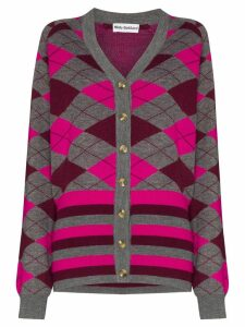 Molly Goddard Gabriella argyle knit cardigan - Grey