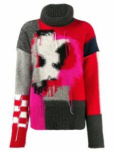 McQ Alexander McQueen patchwork knit jumper - PINK