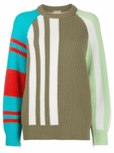 MRZ colour block intarsia jumper - Green