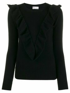 RedValentino ruffled V jumper - Black