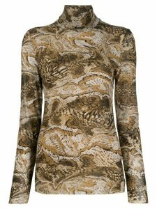Ganni graphic print polo top - Neutrals