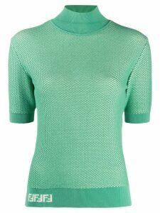 Fendi fishnet knitted top - Green
