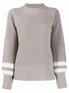 Eleventy ribbed stripe-cuff jumper - Grey