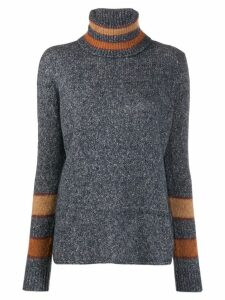 Eleventy stripe-trimmed turtleneck sweater - Grey