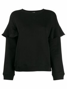 Red Valentino ruffle trim sweatshirt - Black