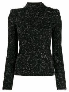 Balmain rhinestone embellished top - Black