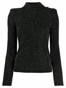 Balmain rhinestone embellished top - Black