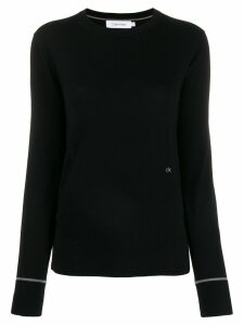 Calvin Klein embroidered logo knit sweater - Black