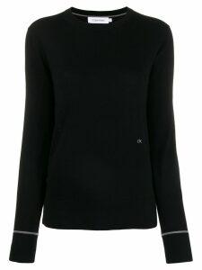 Calvin Klein embroidered logo knit sweater - Black
