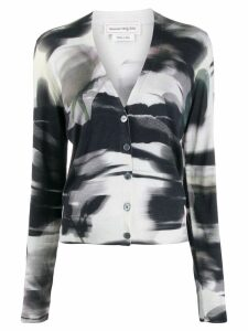 Alexander McQueen abstract print cardigan - Black