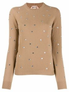 Nº21 crystal-embellished jumper - NEUTRALS
