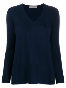 D.Exterior V-neck scalloped jumper - Blue