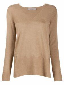 D.Exterior V-neck knitted jumper - Brown