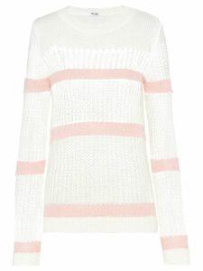 Miu Miu open-weave mohair pullover - White