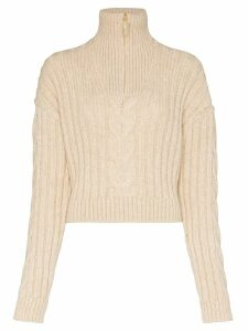 Nanushka Eria cropped cable knit sweater - NEUTRALS