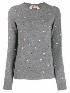Nº21 crystal-embellished jumper - Grey