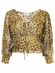 Nicholas leopard print fitted blouse - Yellow