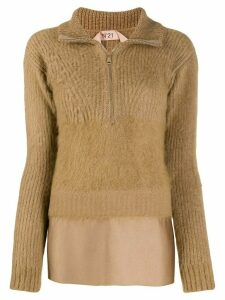 Nº21 layered-hem jumper - Neutrals