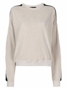 Haider Ackermann contrast-stripe velour sweatshirt - NEUTRALS