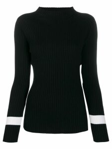 D.Exterior ribbed knit jumper - Black