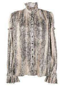 Wandering snakeskin-print pleated blouse - NEUTRALS