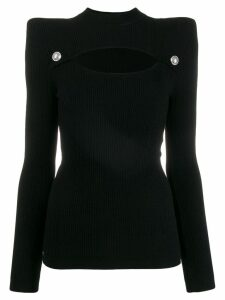 Balmain structured cut out knitted top - Black