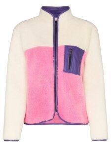 Ashley Williams high neck zipped fleece - White