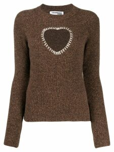Courrèges stitched heart jumper - Brown