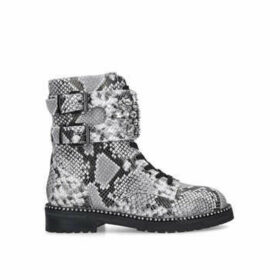 Kurt Geiger London Stoop - Snake Print Military Boot With Embellished Strap