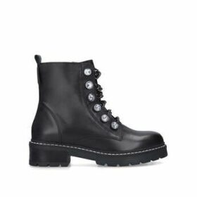 Kurt Geiger London Bax - Black Embellished Chain Biker Boots