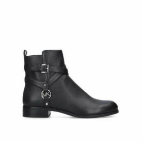 Michael Michael Kors Preston Flat Bootie - Black Leather Ankle Boots