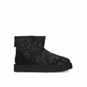 Ugg Classic Mini Sparkle - Black Graffiti Style Ugg Boot