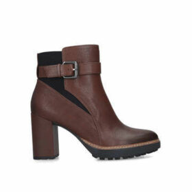 Naturalizer Cora - Brown Heeled Ankle Boot With Buckle Detail
