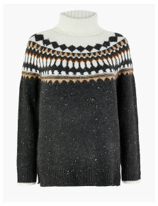 M&S Collection PETITE Fair Isle Roll Neck Jumper