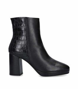 Leather Tiptoe Platform Ankle Boots 85