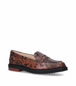 Leather Snake Print Pesante Loafers