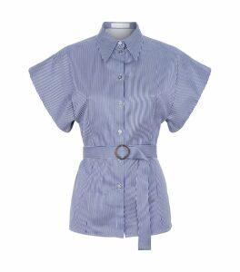 Pinstripe Belted Shirt