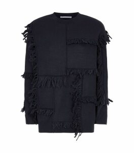 Fringed Patchwork Sweater