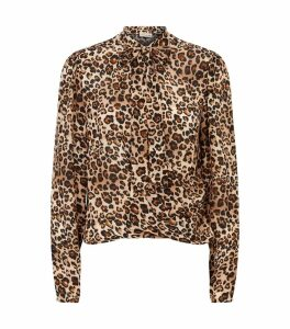 Silk Leopard Print Pussybow Blouse