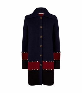Stud Colour-Block Cardigan Coat