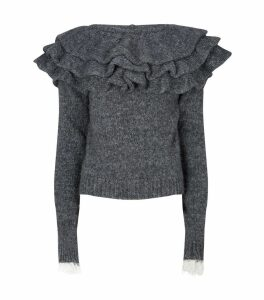 Ruffle Neck Knitted Sweater