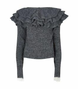 Ruffle Neck Knitted Sweater