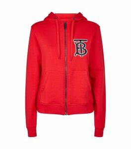 Cotton Monogram Zip-Up Hoodie