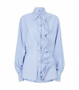 Stripe Ruffle Front Shirt