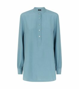 Luke Silk Half-Button Blouse