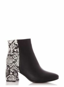 Womens *Quiz Black Faux Leather Snake Print Heel Ankle Boots, Black