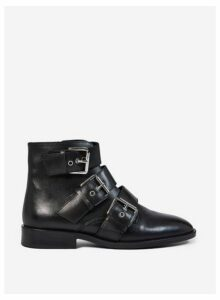 Womens Black Leather 'Olivia' Ankle Boots, Black