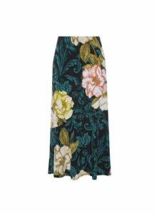 Womens Multi Colour Large Floral Print Midi Skirt, Multi Colour