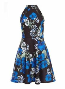 Womens Quiz Multi Coloured Floral Print High Neck Skater Dress, Multi