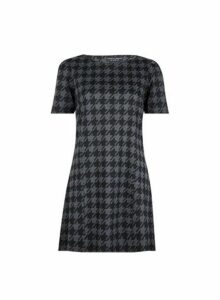 Womens Black Dogtooth Print Tunic Top, Black